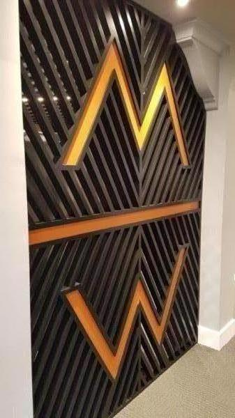 Slatted Painted Timber Screen With Logo